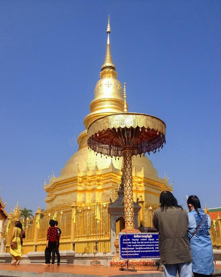 Destinazione di viaggio religiosa importante del tempio della pagoda di Wat Phra That Hariphunchai in provincia nordica in Tailan immagini stock libere da diritti