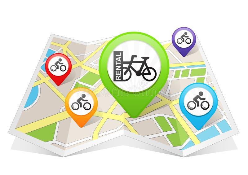 Destino de alquiler de la ubicación del indicador del mapa de la bicicleta de la bici en mapa stock de ilustración