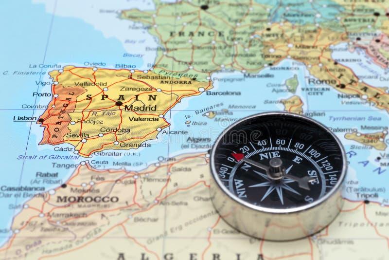 Destino España, mapa del viaje con el compás imagen de archivo libre de regalías