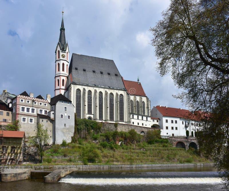 Destino famoso do castelo Cesky Krumlov, república checa foto de stock