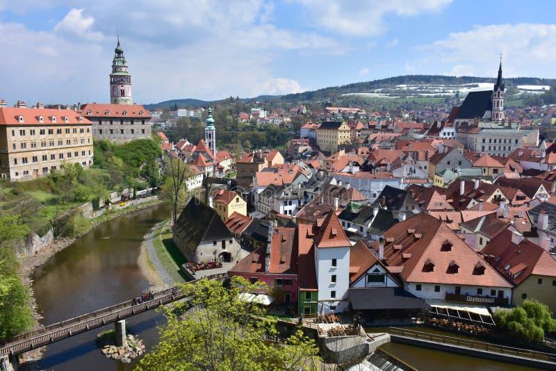 Destino famoso do castelo Cesky Krumlov, república checa imagem de stock
