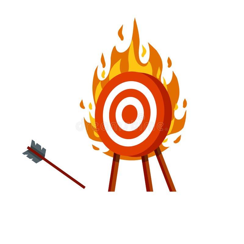 Destino para setas objetivo de flaming vermelho e branco ilustração stock
