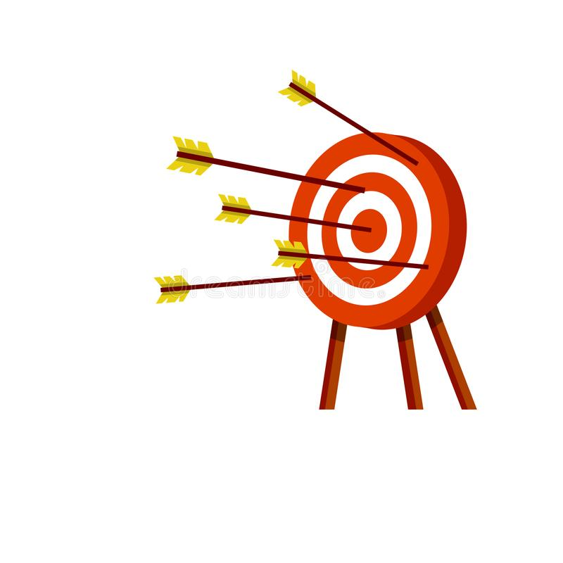 Destino para setas Objetivo vermelho e branco ilustração stock