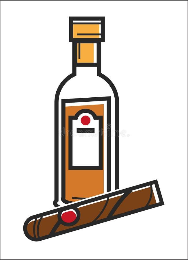Destino popular del viaje de Cuba del ron y del cigarro, icono famoso del vector de la señal de la cultura stock de ilustración