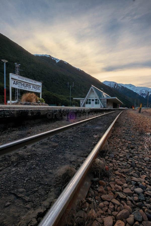 Destino turístico de la estación de tren del paso de Arturo en la isla del sur, Nueva Zelanda fotos de archivo libres de regalías