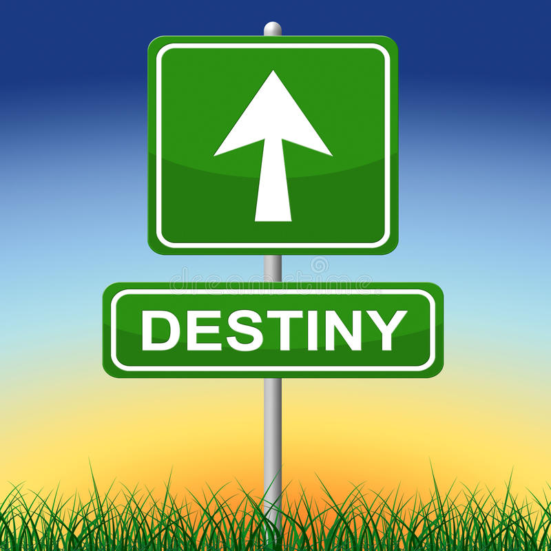 Destiny Sign Means Future Pointing en Pijlen stock illustratie