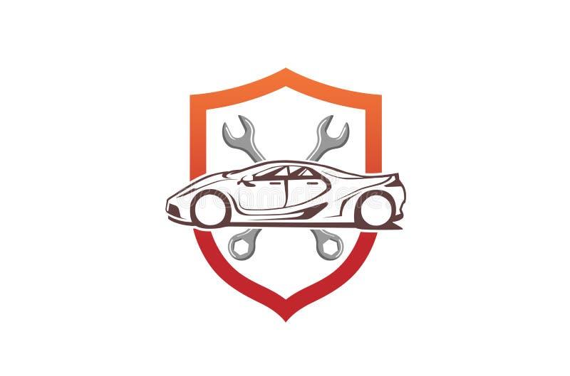 Destornillador creativo Logo Design Illustration de la llave del escudo del coche stock de ilustración