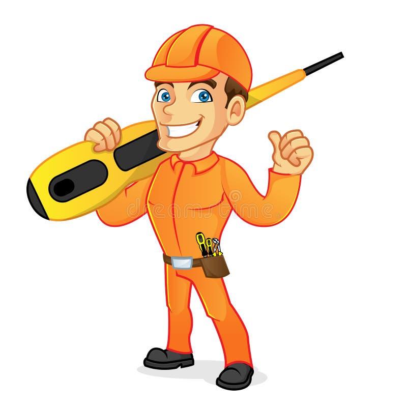 Destornillador que lleva del electricista stock de ilustración