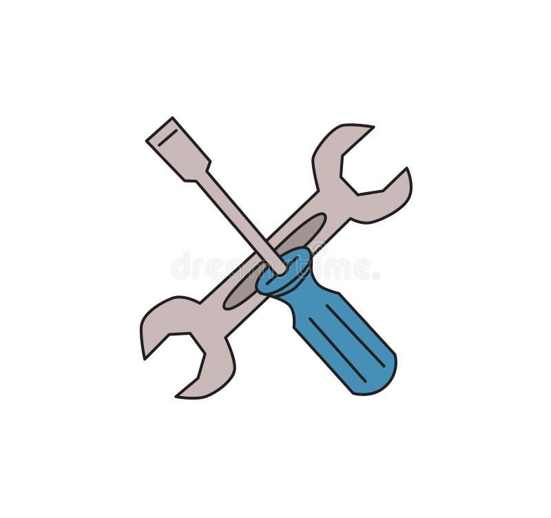 Destornillador y llave Símbolo del ajuste Ajustes o icono de las herramientas Línea coloreada ejemplo del vector Aislado en blanc ilustración del vector