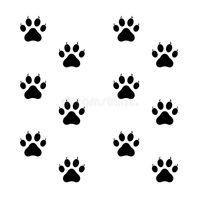 Destra di Paw Black Design Left And dell'animale domestico illustrazione di stock