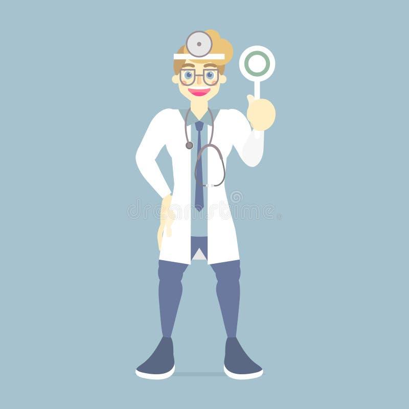 destra medica di sorriso e felice del fornitore di cure mediche maschio di medico della tenuta, simbolo corretto del segno, conce illustrazione di stock