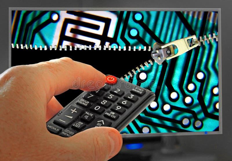 Destravando seu potencial da televisão abrir o zíper digital descodificam a tevê dos canais imagens de stock royalty free