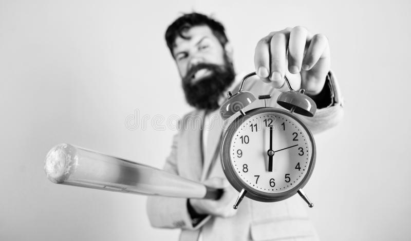 Destroy or turn off. Man suit hold clock and baseball bat in hands. Business discipline concept. Time management and. Discipline. Discipline and sanctions. Boss royalty free stock images