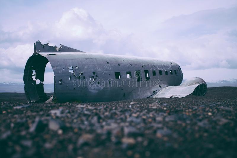 Destroyed Airplane Body On Sea Shore During Daytime Free Public Domain Cc0 Image