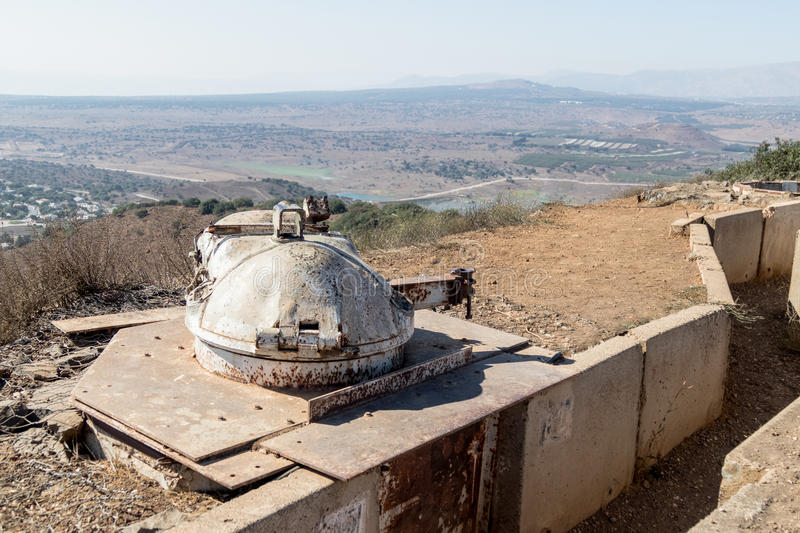 The destroyed battle tower that has remained since the War of the Doomsday Yom Kippur War on Mount Bental, on the Golan Heights in stock photography