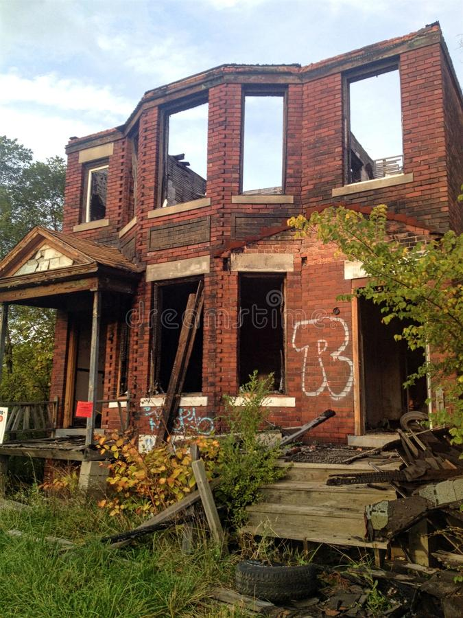 Destroyed Brick House royalty free stock images