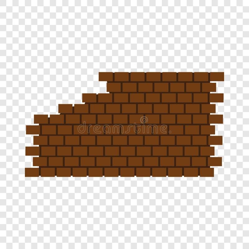 Destroyed brick wall icon, flat style royalty free illustration