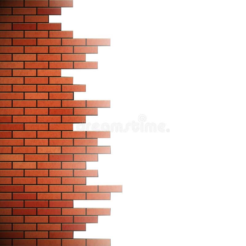 Destroyed brick wall. Isolated on white background. Stock illustration vector illustration