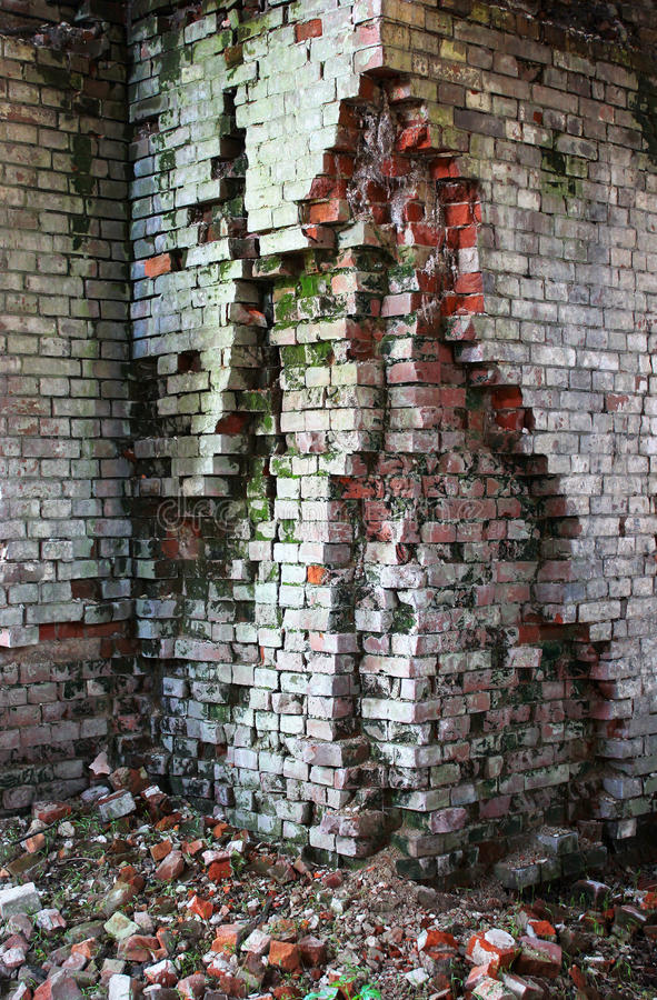 Destroyed brickwork royalty free stock image