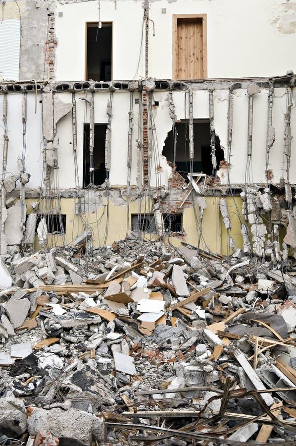 Destroyed building, debris. Series royalty free stock image