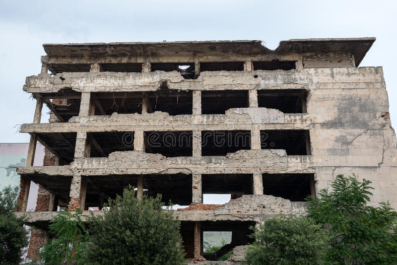 Destroyed building in Mostar. Remains of Bosnian War in Mostar city, Bosnia and Herzegovina royalty free stock image