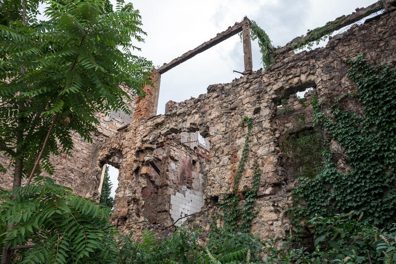 Destroyed building in Mostar. Remains of Bosnian War in Mostar city, Bosnia and Herzegovina stock image