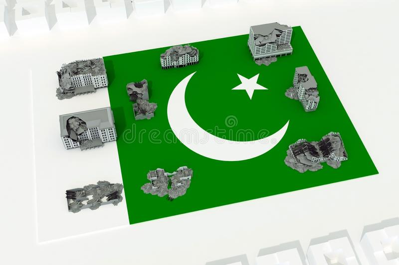 Destroyed buildings on flag of country Pakistan. 3d rendering stock illustration