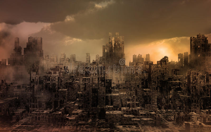 Destroyed City. Dark apocalyptic view of a city