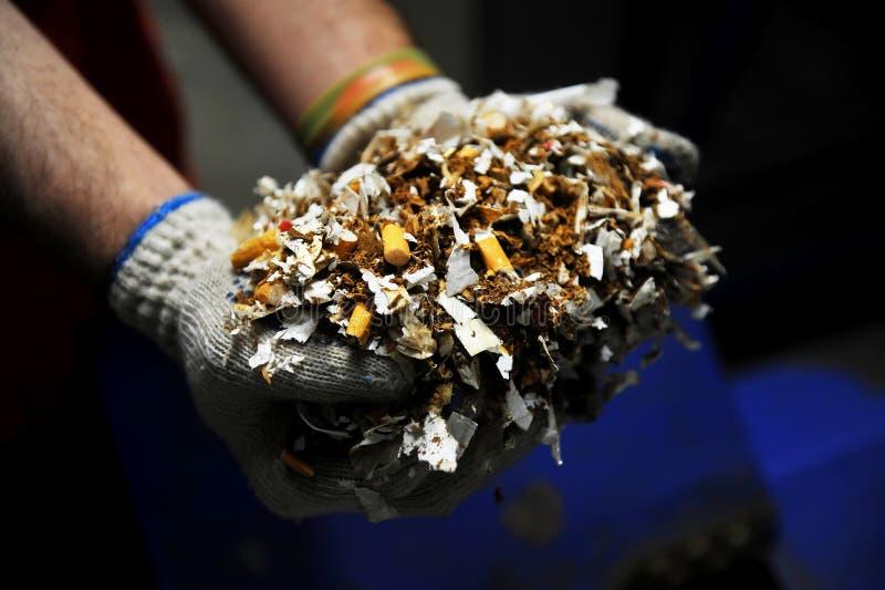 Destroyed förfalskade cigaretter arkivbilder