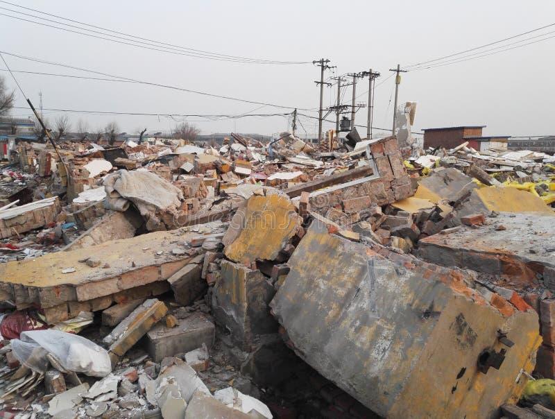 Destroyed ha rovinato le costruzioni, la demolizione, il terremoto, la guerra o il disastro naturale fotografia stock
