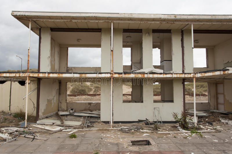 Destroyed holiday chalets. Former mass tourism holidays chalets on the sea front at blackpool royalty free stock photos