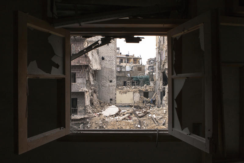 Destroyed hospital building Aleppo. royalty free stock images