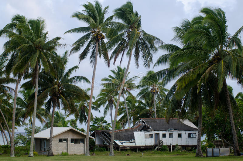 Destroyed house from Cyclone Pat in Aitutaki Lagoon Cook Island. AITUTAKI - SEP 17:Destroyed house from Cyclone Pat on sep 17 2013.It strike the island on Feb 10 royalty free stock photos