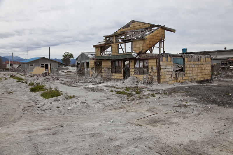 Destroyed house after volcano eruption in Chaiten. stock photography