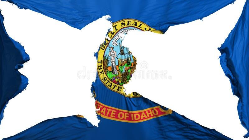 Destroyed Idaho state flag. White background, 3d rendering vector illustration