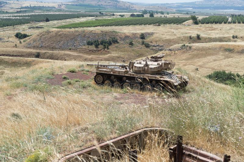 Destroyed Israeli tank is after the Doomsday Yom Kippur War on the Golan Heights in Israel, near the border with Syria stock image