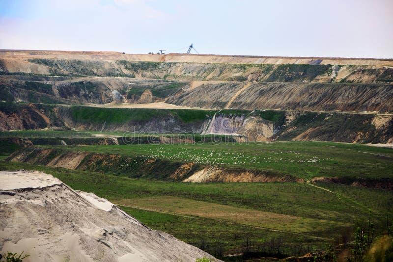 Destroyed landscape in Garzweiler opencast mining lignite royalty free stock photos