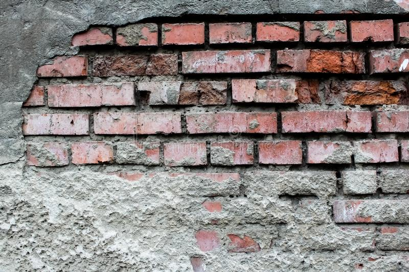 Destroyed Old Brick Wall royalty free stock photography