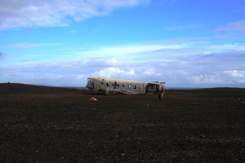 Airplane wrack, Iceland stock photos