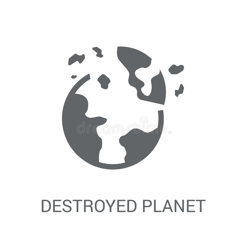 Destroyed planet icon. Trendy Destroyed planet logo concept on w vector illustration