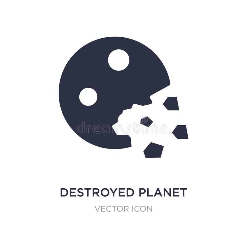 destroyed planet icon on white background. Simple element illustration from Astronomy concept royalty free illustration