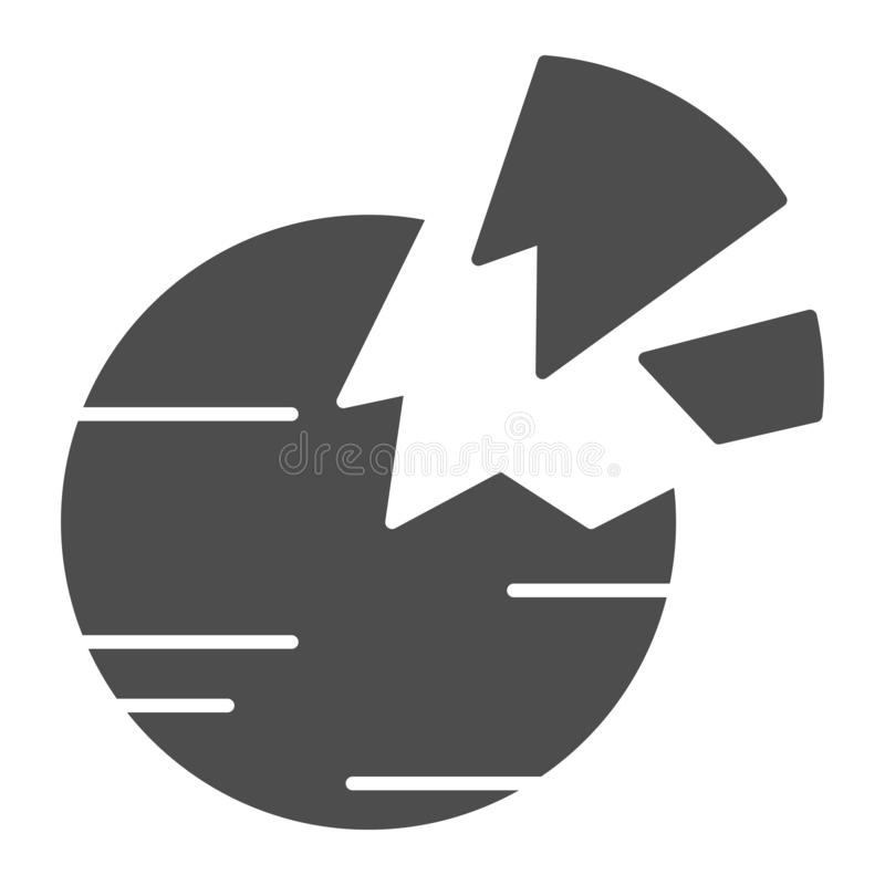 Destroyed planet solid icon. Broken planet vector illustration isolated on white. Space glyph style design, designed for vector illustration