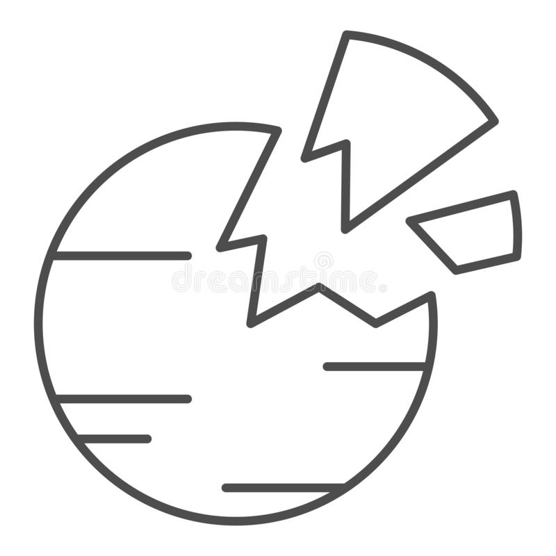 Destroyed planet thin line icon. Broken planet vector illustration isolated on white. Space outline style design stock illustration