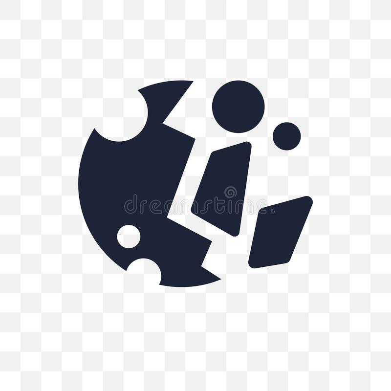 Destroyed planet transparent icon. Destroyed planet symbol design from Astronomy collection. Simple element vector illustration. stock illustration