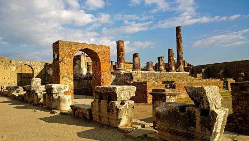 Destroyed Pompeii on a Sunny day stock photos