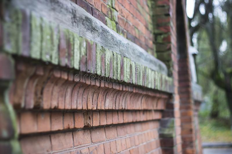 Destroyed red brick wall royalty free stock photos