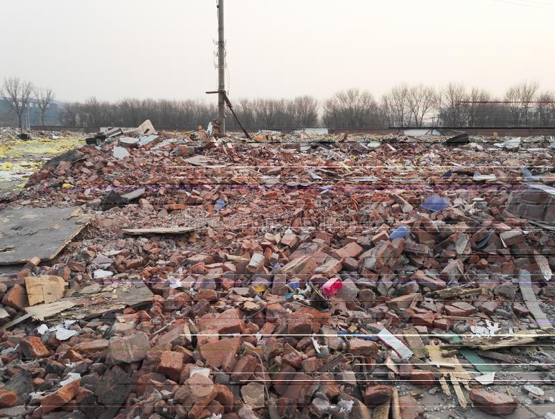 Destroyed ruined buildings,Demolition,Earthquake, war or natural disaster royalty free stock images