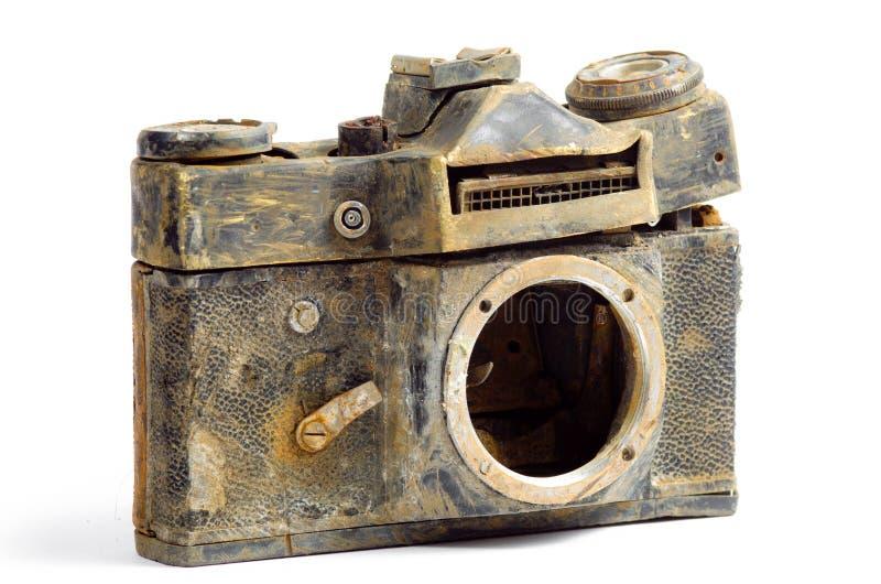 Destroyed SLR camera stock photos