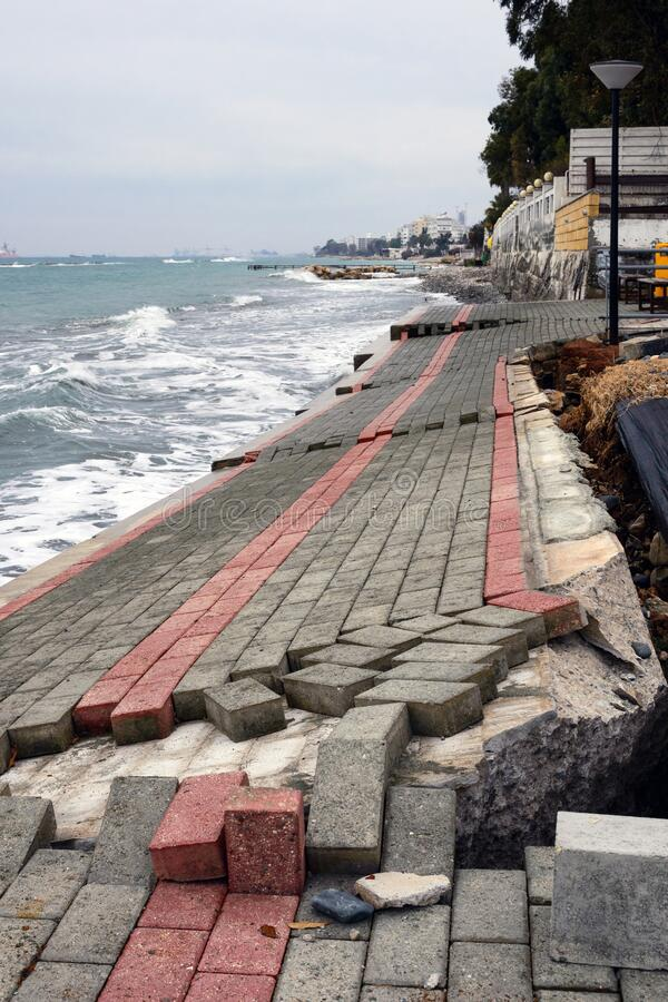 Destroyed by a storm promenade in Limassol on the island of Cyprus. The aftermath of the hurricane.  royalty free stock photo