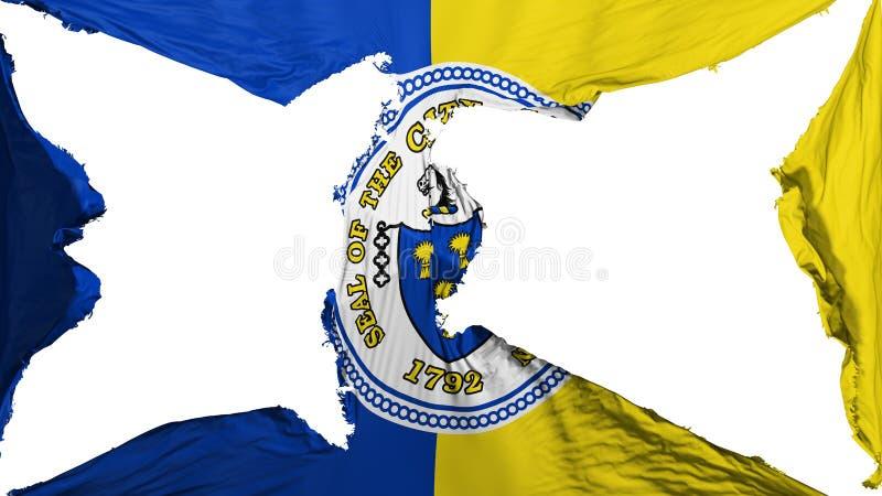 Destroyed Trenton capital city flag. Destroyed Trenton city, capital of New Jersey state flag, white background, 3d rendering stock illustration